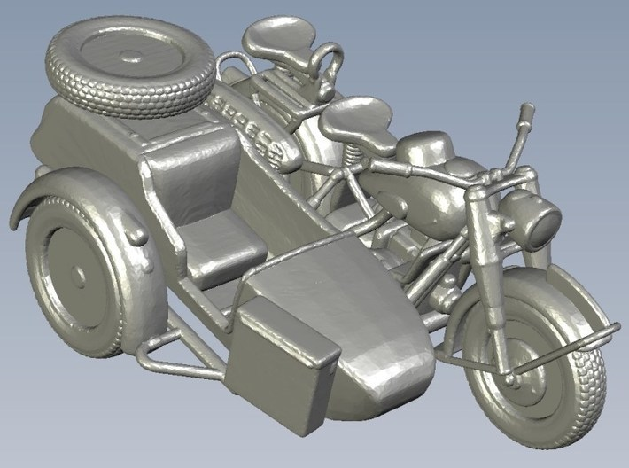 1/87 scale WWII Wehrmacht BMW R75 motorcycles x 3 3d printed