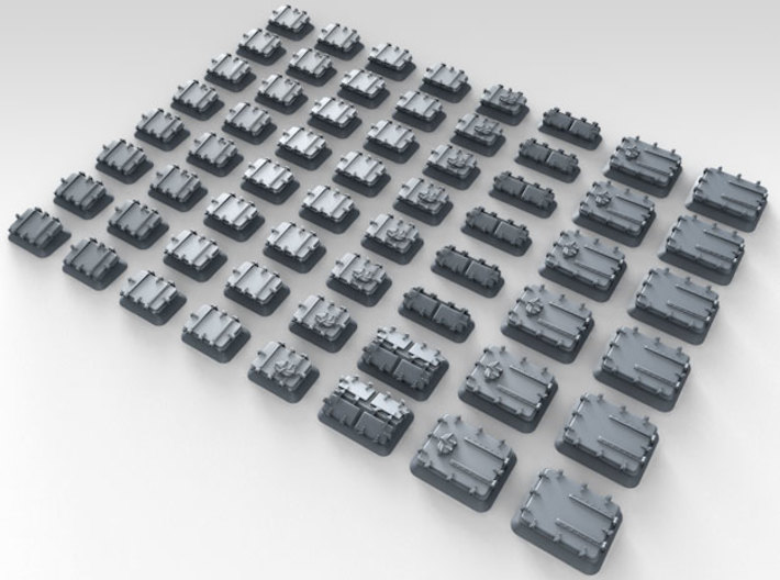 1/700 Royal Navy Assorted Hatches with Blast Plate 3d printed 3d render showing product detail
