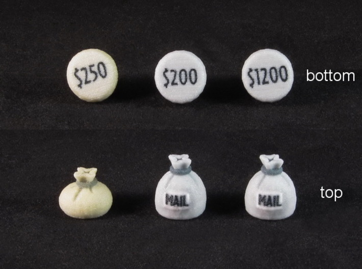 Colt Express Marshall tokens (3 pcs) 3d printed Full Color Sandstone, with a couple spray coats of gloss varnish