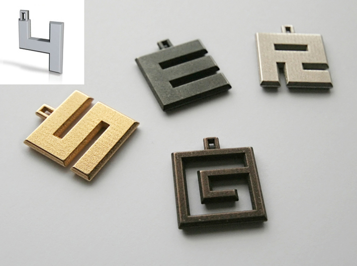 ABC Pendant - 4 Type - Solid - 24x24x3 mm 3d printed
