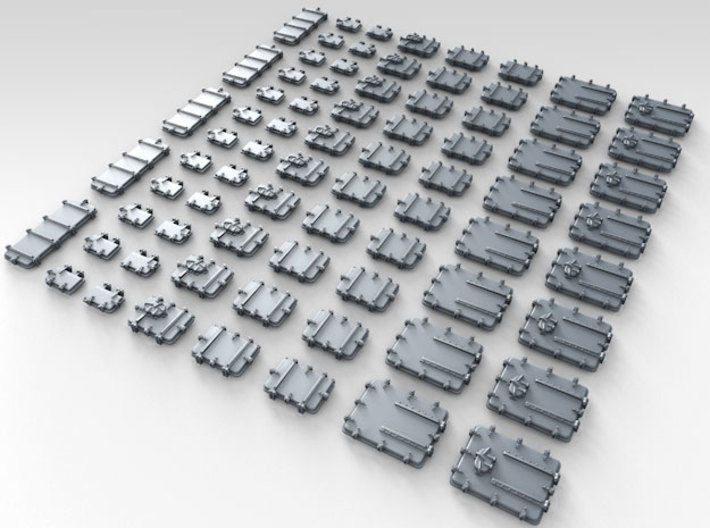 1/200 Royal Navy Assorted Deck Hatches Only x75 3d printed 3d render showing product detail