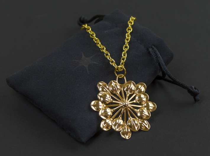 Sun Petals Pendant 3d printed Gold Plated Brass