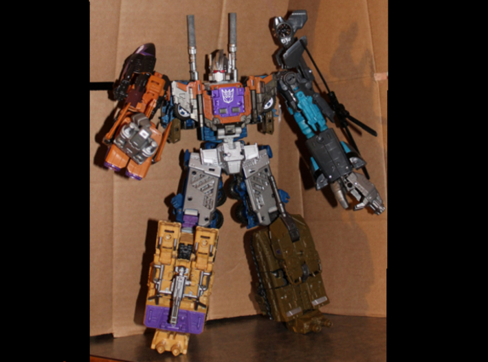 CW/UW Bruticus/Baldigus Cannon Extensions 3d printed Bruticus figure with cannon extensions colored with a silver Sharpie marker