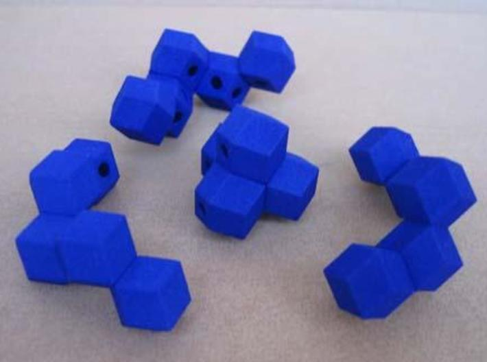 Octahedron with child 3d printed The four puzzle pieces.