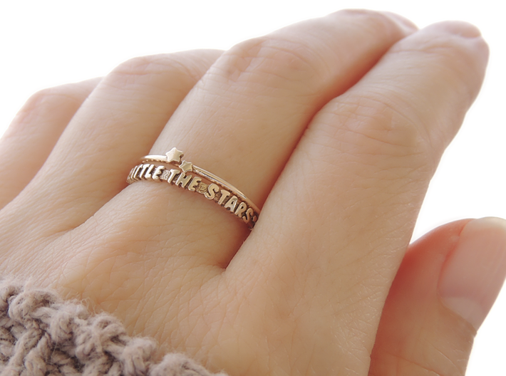 Twin Star Ring (Multiple Sizes) 3d printed Twin Star and 'Rattle The Stars' Ring in Polished Bronze