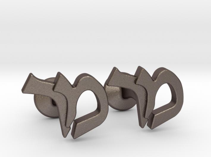 "Hebrew Monogram Cufflinks - ""Mem Reish"" 3d printed"