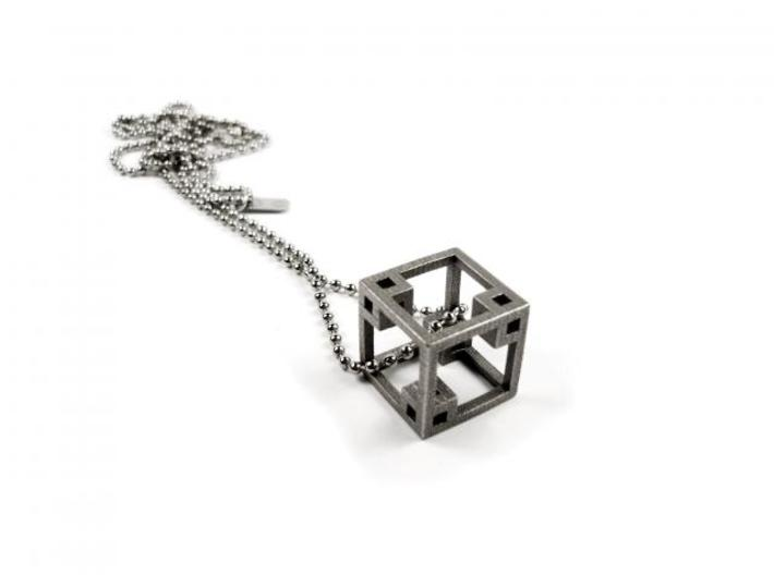CUBE PENDANT 3d printed Bronze Infused Stainless Steel Pendant