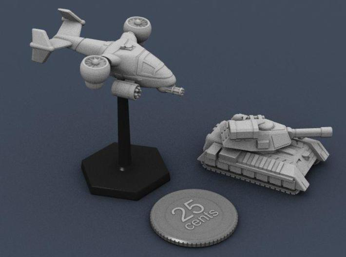 Terran Ground Attack VTOL 3d printed The VTOL on a standard flight stand, with the main battle tank.