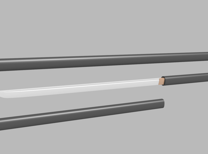Katana - 1:6 scale - Straight Blade - Plain 3d printed