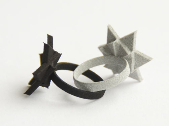 Six Points Flower Ring S 3d printed Black Strong & Flexible and Polished Alumide