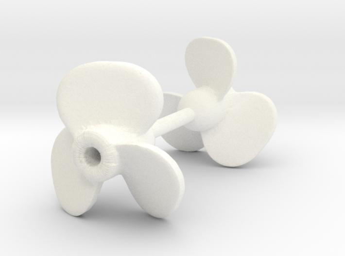 3-blade ship propeller, 10mm diameter, 2 pieces 3d printed
