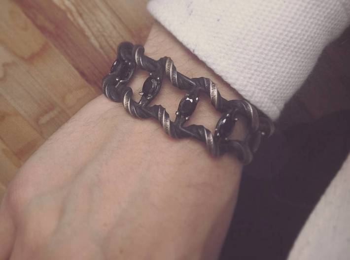 Angkor: 7 headed naga 3d printed Bracelet in polished grey steel