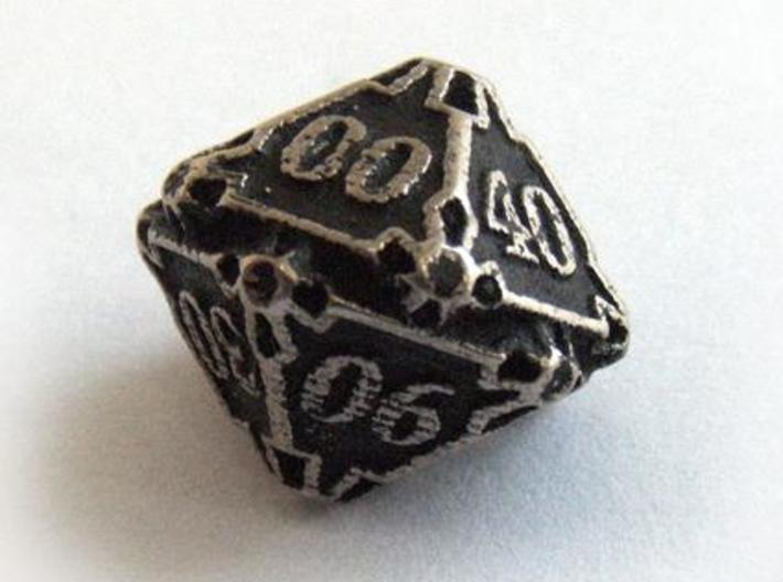Decader Die10 3d printed In stainless steel and inked