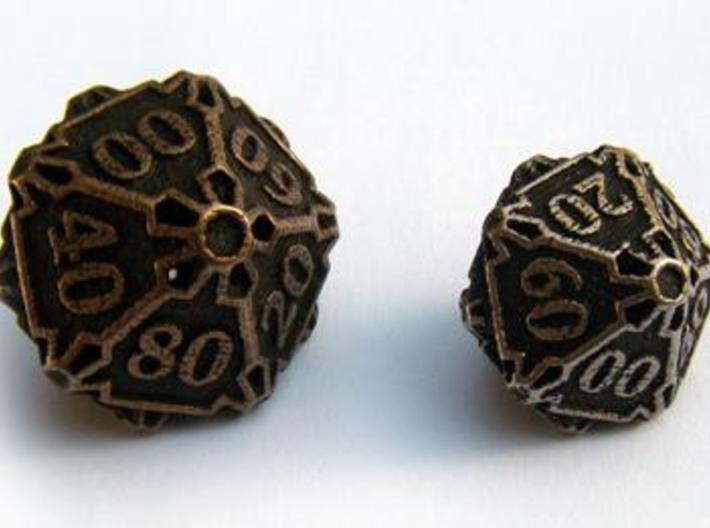 Large Premier Decader d10 3d printed Compared to the standard-sized Die10 Decader