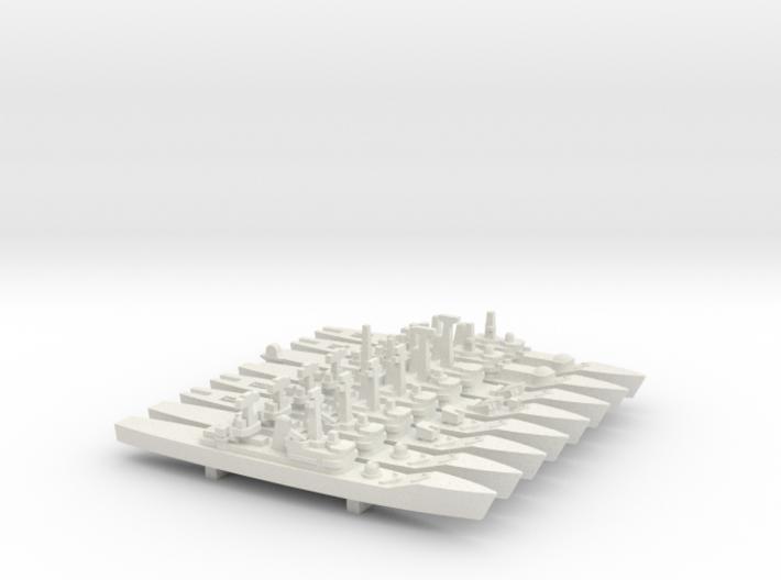 Leander Frigate Set, 8pc, 1/1800 3d printed