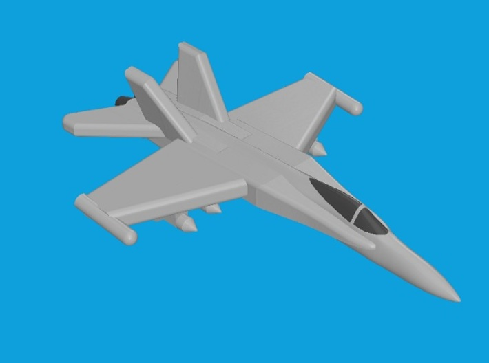 1/1800 F/A-18C Hornet 3d printed Computer software render.The actual model is not full color.