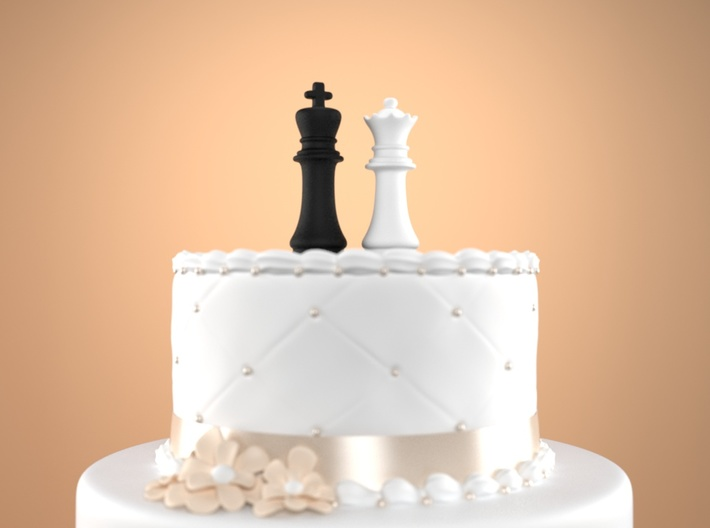 Chess Cake Topper (King and Queen) Black&White 3d printed