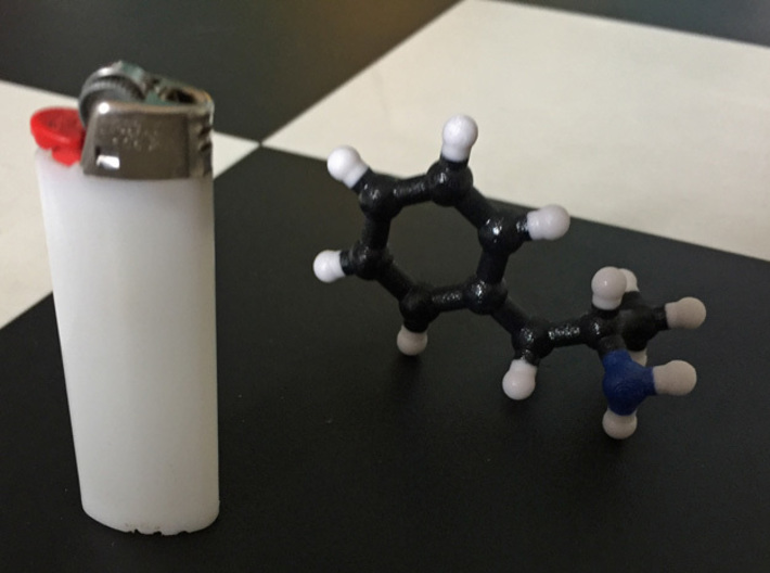 Amphetamine Molecule Model (Speed), 3 Sizes. 3d printed Amphetamine Molecule. 1:10. Coated Full Color.