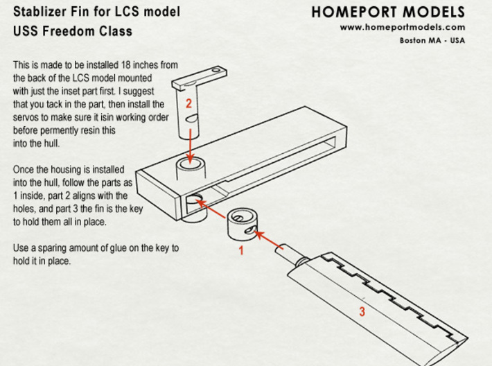 LCS Stabilizer Fin Set in 1/96 Scale 3d printed Directions on how to install