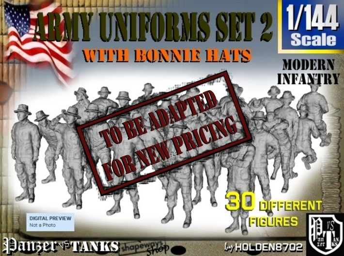 1-144 Army Modern Uniforms Set2 3d printed