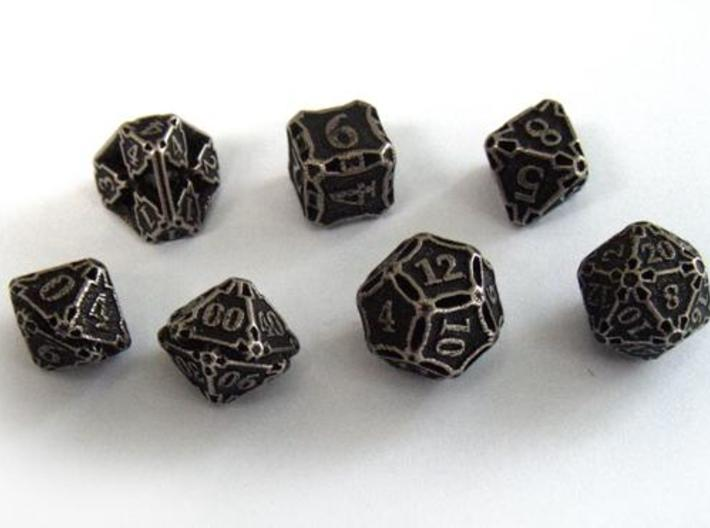 Premier Dice Set with Decader 3d printed In stainless steel and inked