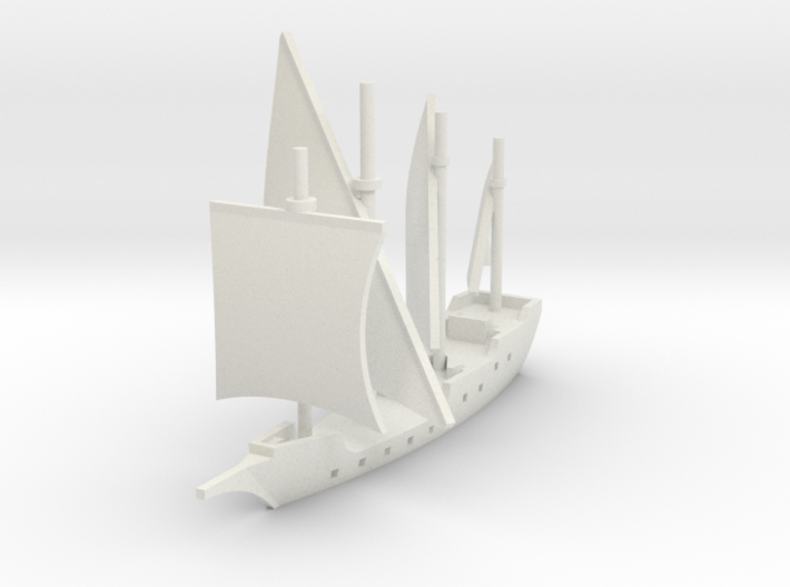 1/1250 Round Caravel game piece 3d printed