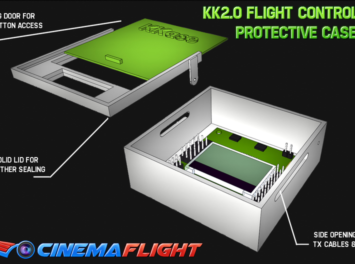 Kkase, Flight Controller Case for kk2.0  Board, Th 3d printed Protect your kk2.0 flight control board.