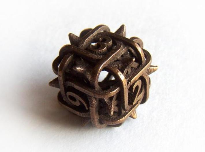 Thorn Die6 3d printed In antique bronze glossy