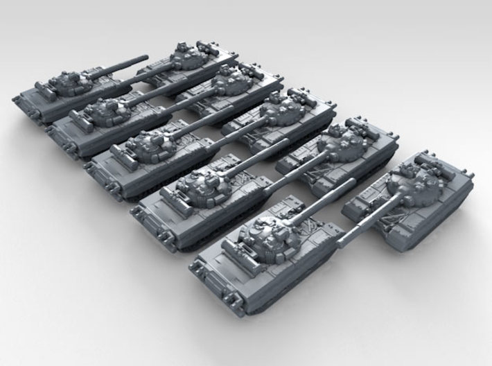 1/700 Russian T-80 Main Battle Tank x10 3d printed 3d render showing product detail