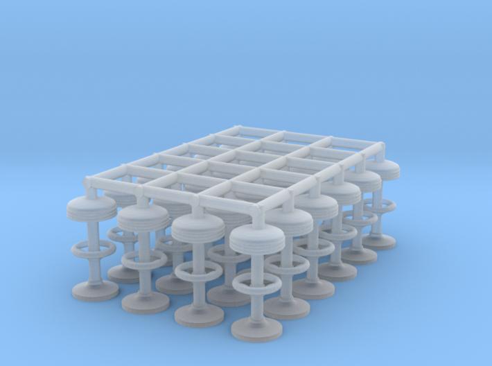 50's soda fountain bar stool 01. HO Scale (1:87) 3d printed