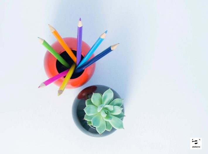 Sfera - planter for succulents and cactuses 3d printed Sfera 'S' size with a succulent plant, Echeveria Clara
