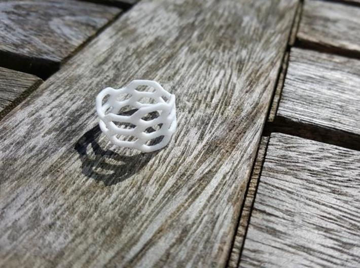 Honeycomb Wide Ring 3d printed White Strong & Flexible