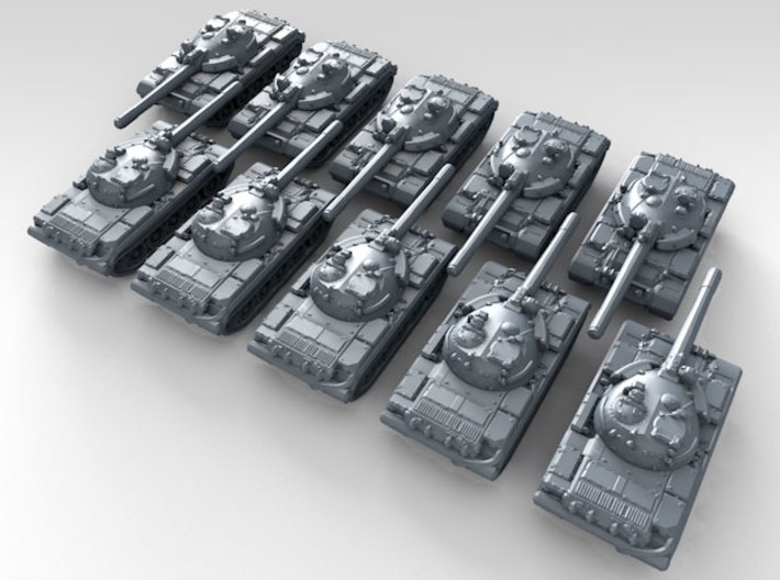 1/600 Russian T-55M1 Main Battle Tanks x10 3d printed 3d render showing product detail