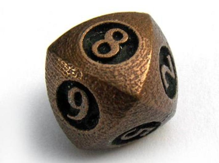 Overstuffed d8 3d printed In antique bronze glossy and inked