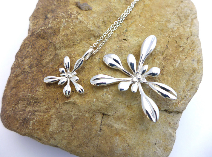 Small Arabidopsis Rosette Pendant 3d printed Comparison of Small vs. Large Arabidopsis pendants in polished silver
