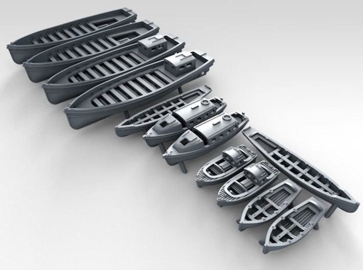 1/500 Royal Navy WW2 Boat Set 2 3d printed 3D Render displaying detail