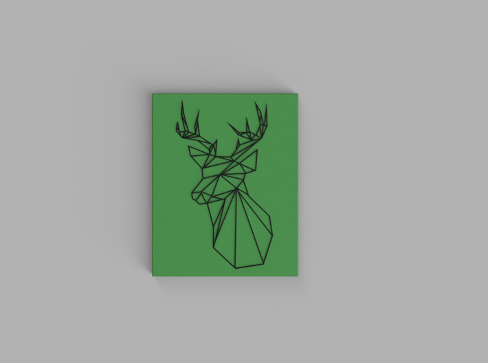 Stags Head Wall Art 3d printed Black, Green