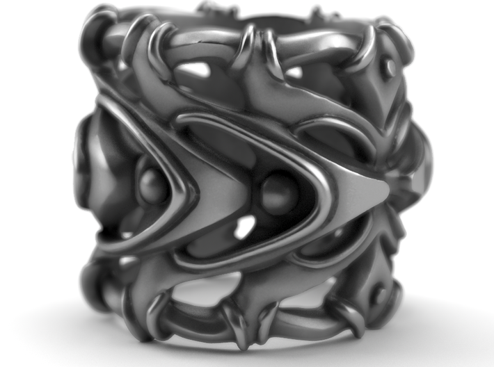 Pulsar - Sterling Silver Ring 3d printed This ring is available on aged silver here: https://shop.pj3dartist.com/products/pulsar-detailed-ring