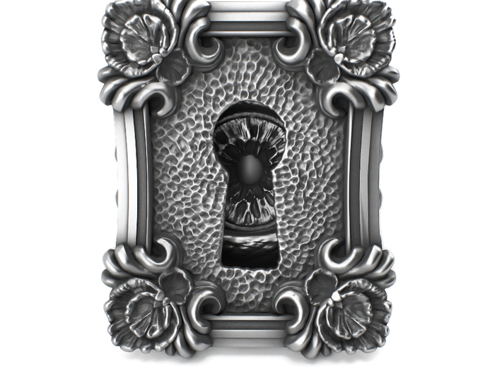Keyhole Baroque - Huge Detailed Ring S. Silver 3d printed It is available on aged silver here: https://shop.pj3dartist.com/products/keyhole-baroque-detailed-huge-ring