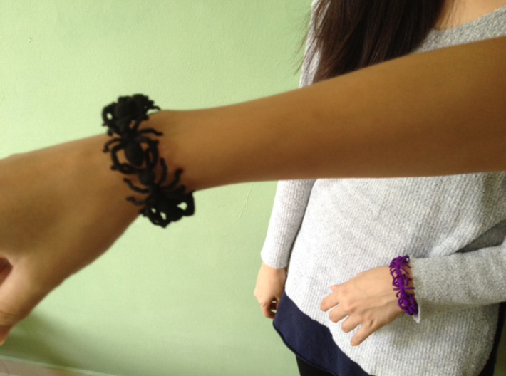 Big Ant Bracelet 3d printed in violet and black