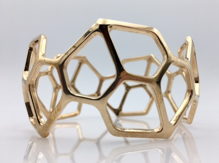 Catalan Bracelet - Pentagonal Hexecontahedron 3d printed Photo of finished product in Polished Bronze