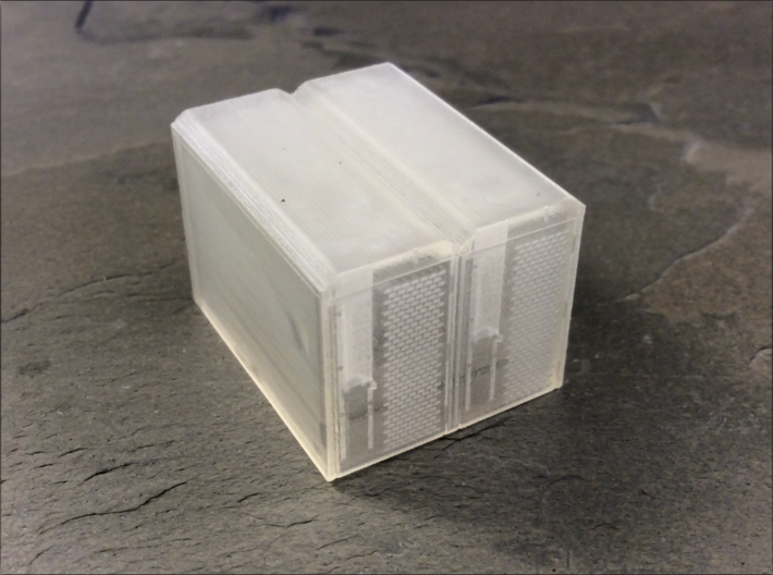 OO Gauge (1/76) Cycle Lockers Set of 2 joined 3d printed Front view