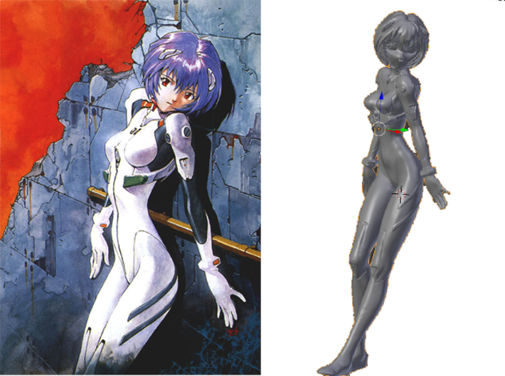 1/8 Rei Ayanami in Plug Suit 00 3d printed
