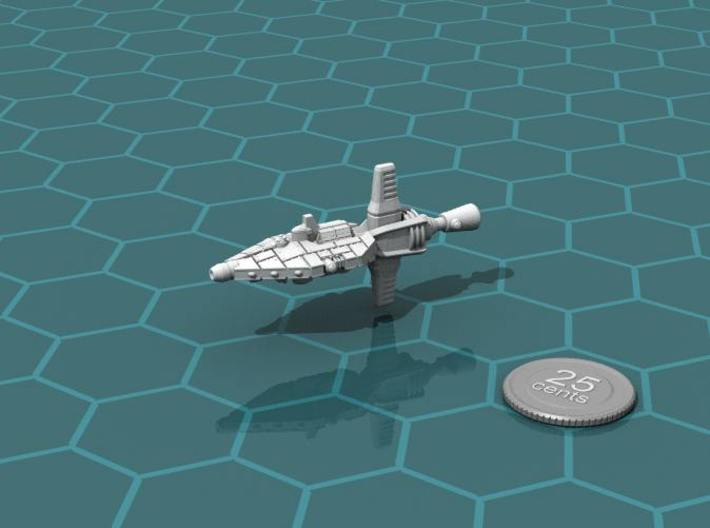 Mavridean Imoran class heavy cruiser 3d printed Render of the model, with a virtual quarter for scale.