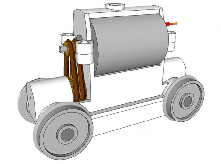 TT Truck 9' wheelbase 10mm Motor 3d printed Side view of the complete truck