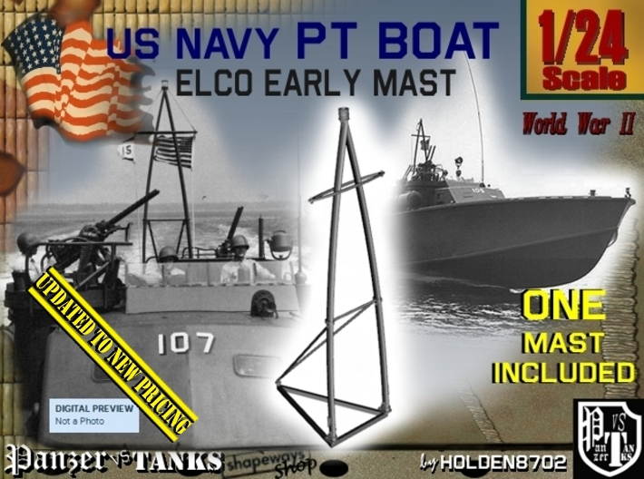 1-24 Elco PT Boat Early Mast 3d printed