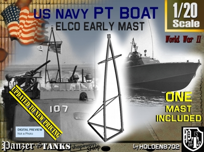1-20 Elco PT Boat Early Mast 3d printed