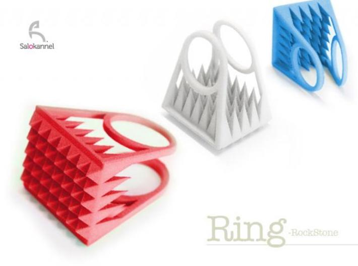 RockStone - ring (sizes 5-9) 3d printed Size 16mm