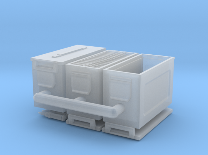 1/18 scale 50 cal' ammo boxes. 3d printed