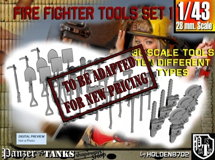 1-43 Firemen Tools Set 1 3d printed
